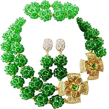نسائي متعدد الطبقات مجموعة مجوهرات النمسا، البلورة MOON سيدات, موضة تتضمن قلادة السواحل أخضر / أزرق / زهر فاقع من أجل زفاف مناسب للحفلات / أقراط