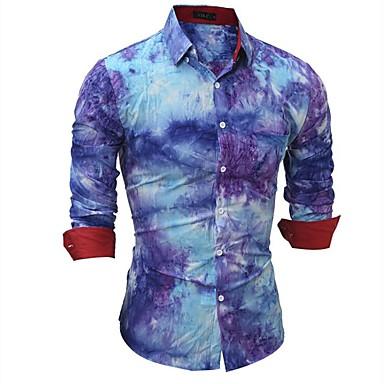 economico Abbigliamento uomo-Camicia - Taglie forti Per uomo Ufficio Punk & Gotico Monocolore / A quadri Cotone Blu L / Manica lunga