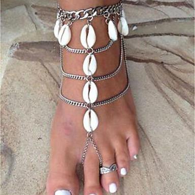 billiga Kroppssmycken-Dam Barfotasandaler fötter smycken Multi lager Sol Skal Puka Shell damer Stilig Klassisk Skal Ankelkedja Smycken Silver Till Bikini