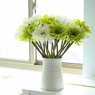 زهور اصطناعية 1 فرع كلاسيكي أنيق أقحوان أزهار الطاولة