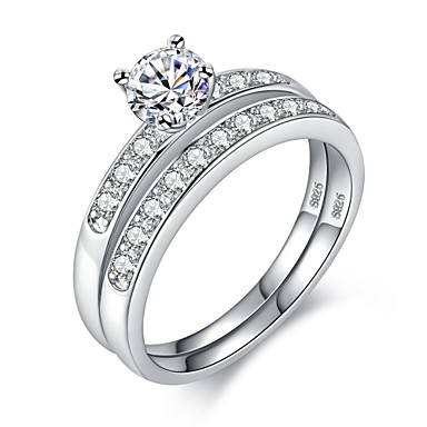 4cb4638df072 Γυναικεία Διαμάντι Cubic Zirconia Σωρός Δαχτυλίδι Επιμεταλλωμένο με Πλατίνα  S925 Sterling Silver κυρίες Μοδάτο Δαχτυλίδι Κοσμήματα