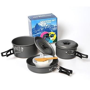 طقم أدوات الطهي للتخييم طقم يتكون من قدر ومقلاة للتخييم مجموعة 9PCS خفة الوزن الغطاء متضمن قابلة للطي إلى عن على 2 - 3 شخص من الصعب ألومينا ألمنيوم في الهواء الطلق