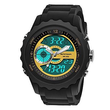 Χαμηλού Κόστους Ανδρικά ρολόγια-SANDA Ανδρικά Αθλητικό Ρολόι Ψηφιακό ρολόι Ιαπωνικά Ψηφιακό σιλικόνη Μαύρο 30 m Ανθεκτικό στο Νερό Ημερολόγιο Χρονόμετρο Αναλογικό-Ψηφιακό Πολυτέλεια Μοντέρνα - Μπλε Χρυσό Σκούρο πράσινο