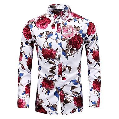 povoljno Moderna odjeća za muškarce-Veći konfekcijski brojevi Majica Muškarci - Vintage / Osnovni Dnevno / Izlasci Pamuk Cvjetni print Slim, Print Plava XXXXL / Dugih rukava