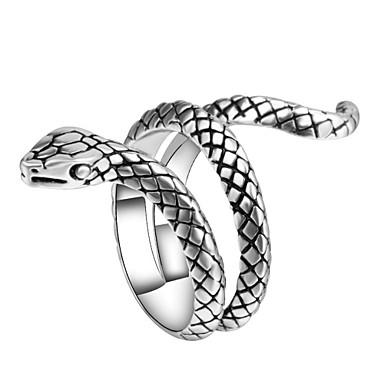 رجالي خاتم البيان خاتم حلقة التفاف 1PC فضي سبيكة غير منتظم عتيق بانغك شائع مهرجان نادي مجوهرات أشكال النحت ثعبان حيوان كوول