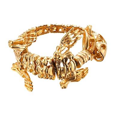 رجالي أسورة ستايل تنين غلو موضة الفولاذ المقاوم للصدأ مجوهرات سوار ذهبي / أسود / فضي من أجل هدية شارع