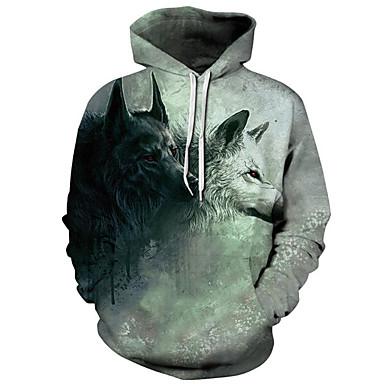 رجالي أساسي / مبالغ فيه قياس كبير فضفاض بنطلون - 3D ذئب, طباعة أخضر / مع قبعة / الرياضة / كم طويل / الخريف / الشتاء