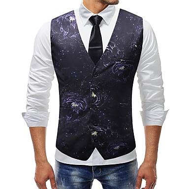 رجالي أرجواني XXXL XXXXL 5XL Vest قياس كبير أساسي ألوان متناوبة V رقبة نحيل / بدون كم