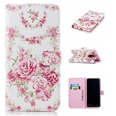 غطاء من أجل Samsung Galaxy S9 / S9 Plus / S8 Plus محفظة / حامل البطاقات / مع حامل غطاء كامل للجسم زهور قاسي جلد PU
