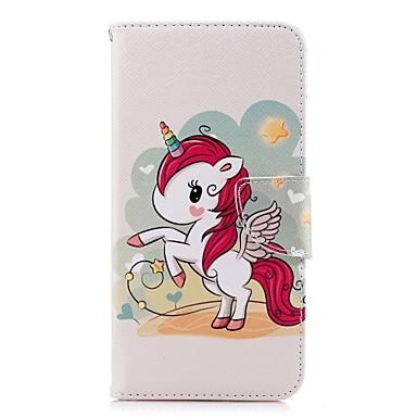 غطاء من أجل Samsung Galaxy A5(2018) / A6 (2018) / A6+ (2018) محفظة / حامل البطاقات / مع حامل غطاء كامل للجسم آحادي القرن قاسي جلد PU