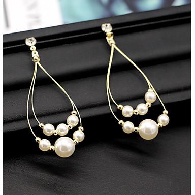 نسائي الماس الاصطناعي أقراط قطرة ستايل سيدات استوائي أنيق الأقراط مجوهرات أبيض من أجل زفاف مناسب للحفلات 1 زوج