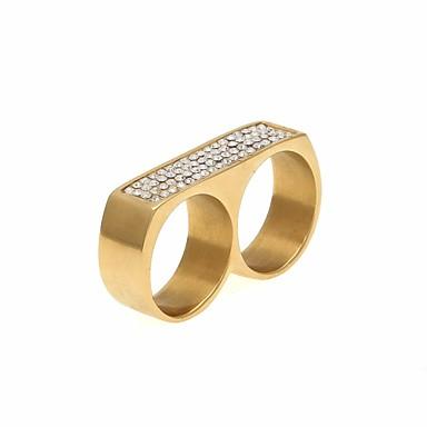 זול טבעות-בגדי ריקוד גברים זירקונה מעוקבת מסוגנן טבעת רבת אצבעות מתכת אל חלד גאומטרי טרנדי הַגזָמָה Fashion Ring תכשיטים זהב / כסף עבור רחוב מועדונים 9 / 10