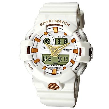 cheap Men's Watches-SANDA Men's Sport Watch Digital Watch Japanese Digital Silicone Black / White / Blue 30 m Water Resistant / Waterproof Calendar / date / day Stopwatch Analog - Digital Luxury Fashion - White / Gold