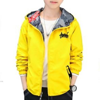 cheap Boys' Jackets & Coats-Kids Boys' Basic Print Long Sleeve Suit & Blazer Black
