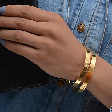 2pcs نسائي أشكال النحت أساور أساور اصفاد مجموعة سوار مطلية بالذهب سيدات عرقي سوار مجوهرات ذهبي من أجل مناسب للحفلات هدية