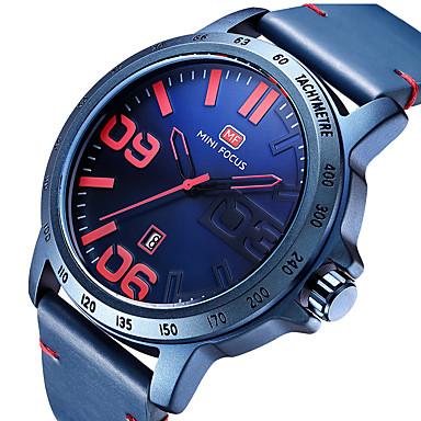 MINI FOCUS رجالي ساعة المعصم كوارتز جلد طبيعي أسود / أزرق / بني رزنامه ساعة كاجوال مماثل ترف الحد الأدنى - أسود بني أخضر