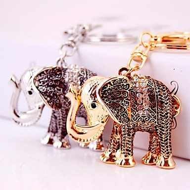 فيل سلسلة المفاتيح ذهبي فضي غير منتظم زر زركون سبيكة غطاءمغطى بالالماس / حجر كريم موضة من أجل هدية مواعدة