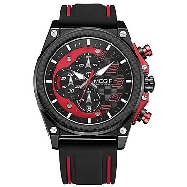 MEGIR رجالي ساعة رياضية ياباني كوارتز سيليكون أسود 30 m مقاوم للماء رزنامه الكرونوغراف مماثل كاجوال موضة - فضي أصفر أحمر / قضية