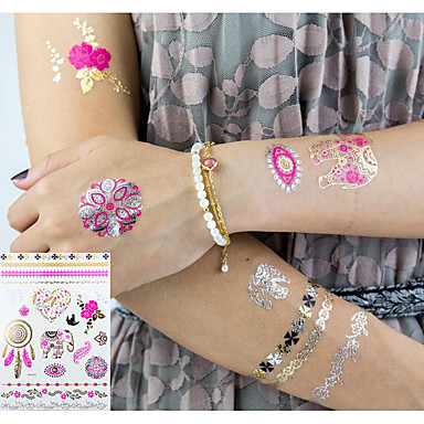 3 Pcs Metallic Tattoo Temporary Tattoos Flower Series Romantic