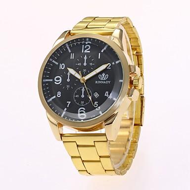 رجالي ساعة فستان ساعة المعصم كوارتز ذهبي تصميم جديد ساعة كاجوال مماثل كلاسيكي كاجوال موضة أرسطو - ذهبي أسود سنة واحدة عمر البطارية