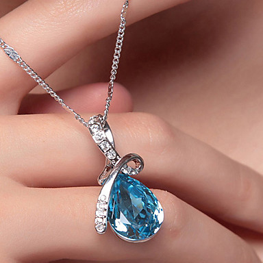 cheap Pendant Necklaces-Women's Crystal Pendant Necklace Pear Cut Solitaire Drop Aquarius Teardrop Cheap Ladies Fashion Elegant Bling Bling Silver Plated White Gold Alloy Red Blue Champagne Necklace Jewelry For Wedding
