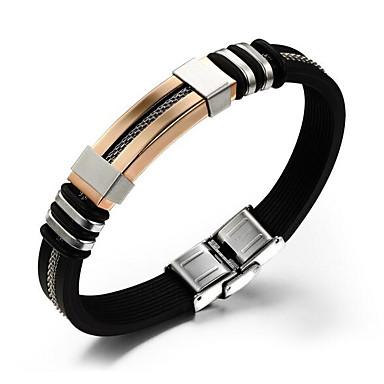 cheap Men's Jewelry-Men's Chain Bracelet Hologram Bracelet Vintage Style Classic Creative Vintage Punk Silica Gel Bracelet Jewelry Black / Silver / Rose Gold For Daily Work / Steel Stainless