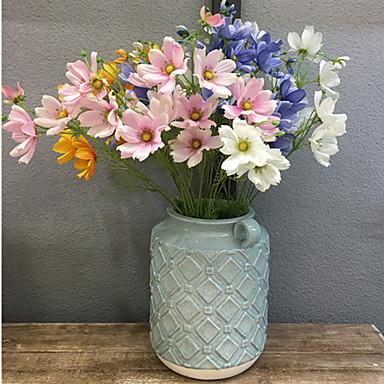 زهور اصطناعية 1 فرع كلاسيكي أوروبي النمط الرعوي الإقحوانات أزهار الطاولة