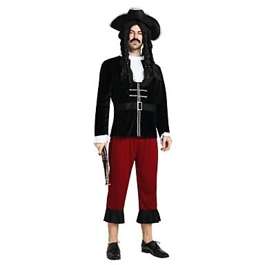 Pirates of the Caribbean كوستيوم رجالي بالغين Halloween مهرجان حفلة تنكرية عطلة / عيد بوليستر ملابس أسود لون سادة Halloween