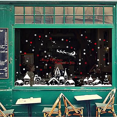 فيلم نافذة وملصقات زخرفة عيد الميلاد سادة / منقط / عطلة PVC لامعة / ملصق النافذة