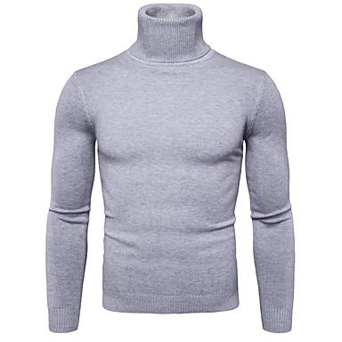 billige Herregensere og -cardigans-Herre Ut på byen Ensfarget Langermet Normal Pullover, Rullekrage Navyblå / Gul / Lyseblå L / XL / XXL