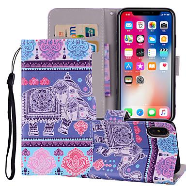 غطاء من أجل Apple iPhone X / iPhone 8 Plus / iPhone 8 محفظة / حامل البطاقات / مع حامل غطاء كامل للجسم فيل قاسي جلد PU