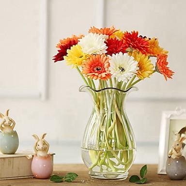 زهور اصطناعية 5 فرع كلاسيكي فردي أنيق النمط الرعوي الإقحوانات أزهار الطاولة