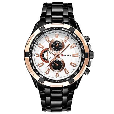 levne Pánské-Pánské Náramkové hodinky Letecké hodinky japonština Křemenný Nerez Černá / Stříbro 30 m Voděodolné Chronograf Cool Analogové Luxus Módní - Zlato / stříbro / bílá Zlato / stříbro / černá Čern
