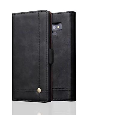 غطاء من أجل Samsung Galaxy Note 9 / Note 8 محفظة غطاء كامل للجسم لون سادة قاسي جلد أصلي
