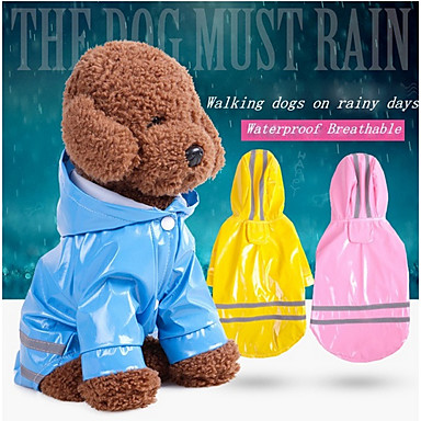 cheap Dog Clothing & Accessories-Dogs / Cats Jacket / Raincoat / Reflective Band Dog Clothes Solid Colored / Striped Red / Pink / Light Blue PU Leather Costume For Pets Unisex Waterproof / Windproof / Trendy
