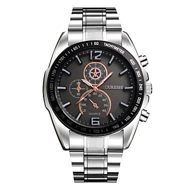 Недорогие Часы на металлическом ремешке-Муж. Наручные часы Кварцевый Нержавеющая сталь Серебристый металл Cool Крупный циферблат Аналоговый На каждый день Мода - Белый Черный