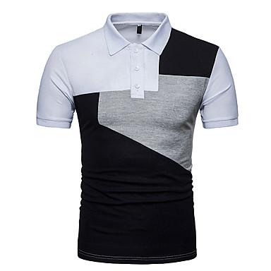 رجالي الرياضة قياس كبير - قطن بولو ستايل, ألوان متناوبة قبعة القميص / كم قصير