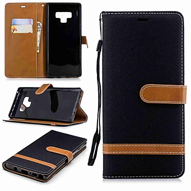 غطاء من أجل Samsung Galaxy Note 9 / Note 8 محفظة / حامل البطاقات / مع حامل غطاء كامل للجسم لون سادة قاسي منسوجات