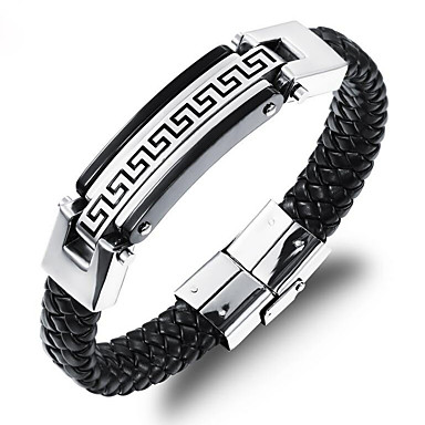 404546f6406 baratos Bijuterias Femininas-Homens Entrançado Pulseiras de couro tear  Bracelet Banhado a Ouro 18K Aço