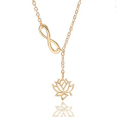 Dame Hul Halskæde Lotus Uendelighed Damer Simple Europæisk Mode Guld Sølv 60 cm Halskæder Smykker 1pc Til Daglig