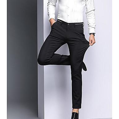 76723c05f رجالي أساسي مناسب للبس اليومي بدلة بنطلون - لون سادة خصر عالي أزرق أسود 36  38