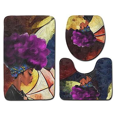 3 قطعات الحديث مماسح الحمام 100g / m2 البوليستر الإمتداد حك طباعة زهور غير منتظم تصميم جديد / خلاق