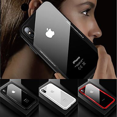 غطاء من أجل Apple iPhone X / iPhone 8 Plus / iPhone 8 ضد الصدمات / شفاف غطاء خلفي لون سادة قاسي زجاج مقوى