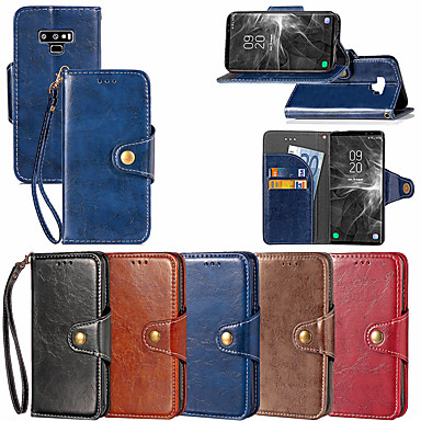 Недорогие Чехлы и кейсы для Galaxy Note 3-Кейс для Назначение SSamsung Galaxy Note 9 / Note 8 / Note 5 Кошелек / Бумажник для карт / со стендом Чехол Однотонный Твердый Кожа PU