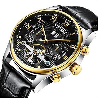 Χαμηλού Κόστους Ανδρικά ρολόγια-KINYUED Ανδρικά Διάφανο Ρολόι Ρολόι Καρπού μηχανικό ρολόι Ιαπωνικά Αυτόματο κούρδισμα Δέρμα Μαύρο / Καφέ 30 m Ανθεκτικό στο Νερό Ημερολόγιο Χρονογράφος Αναλογικό Πολυτέλεια Κλασσικό Ρολόι Φορέματος -