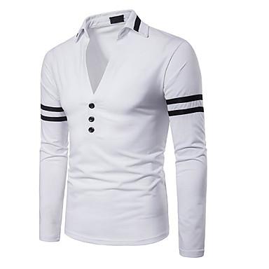 billige Herrers Mode Beklædning-Krave Tynd Herre - Farveblok Polo Hvid L / Langærmet