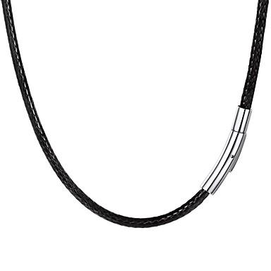 Hombre Trenzado Collar Acero inoxidable Piel Moda Negro 55 cm Gargantillas Joyas 1pc Para Regalo Diario