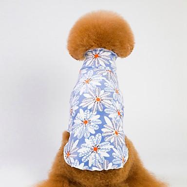 كلاب قطط منامة ملابس الكلاب هندسي زهور أزرق زهري صوف مخمل 100% كوستيوم من أجل لابرادور Bichon فرايز أفطس الخريف الشتاء ذكر موديل الورد كاجوال / يومي