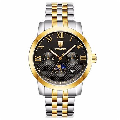 levne Pánské-Tevise Pánské mechanické hodinky japonština Automatické natahování Nerez Stříbro / Zlatá 30 m Voděodolné Kalendář Roztomilý Analogové Luxus Módní - Modrá Zlato / stříbro / černá / Svítící
