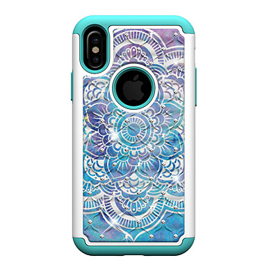 Resistente 8 Con per diamantini Mandala 06915841 Plus 8 iPhone retro urti iPhone 8 iPhone Per iPhone agli X PC X Custodia Apple Fiori Resistente Per Fantasia disegno iPhone AHXzTavT